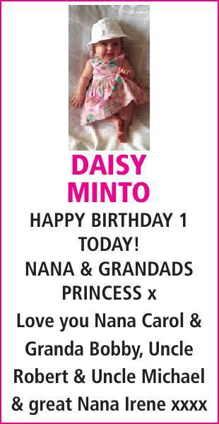 Birthday notice for DAISY MINTO