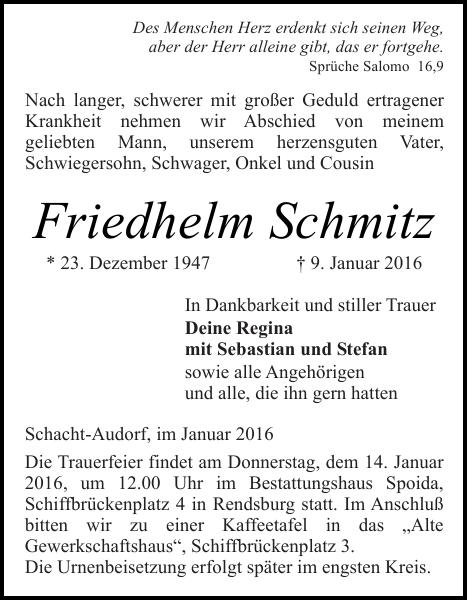 friedhelm schmitz : traueranzeige : landeszeitung