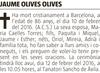 Esquela de Fallecimiento de JAUME OLIVES OLIVES