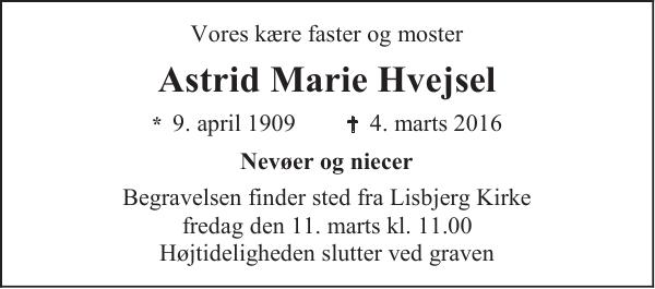 Astrid Marie Hvejsel