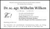 Dr. sc. agr. Wilhelm Wilken