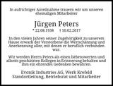 Anzeige für Jürgen Peters