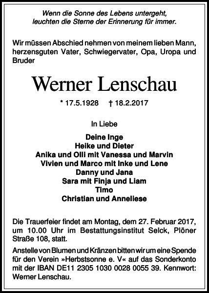 Der VfR nimmt Abschied von Werner Lenschau
