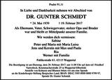 Anzeige für DR. GUNTER SCHMIDT