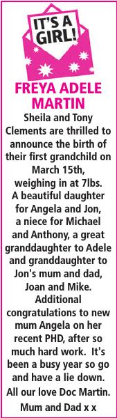 Birth notice for FREYA ADELE