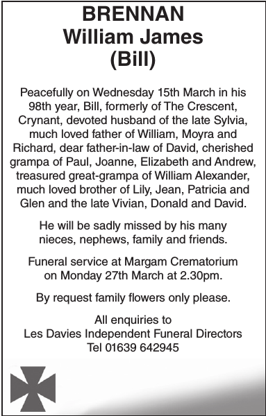 Obituary notice for BRENNAN