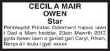Diamond anniversary notice for OWEN CECIL