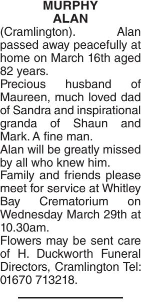 Obituary notice for MURPHY ALAN