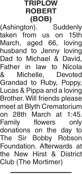 Obituary notice for TRIPLOW ROBERT