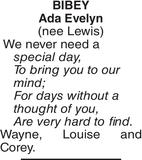 Birthday memorial notice for BIBEY Ada