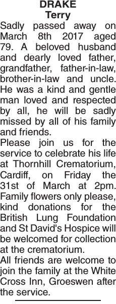 Obituary notice for DRAKE Terry