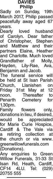 Obituary notice for DAVIES Philip