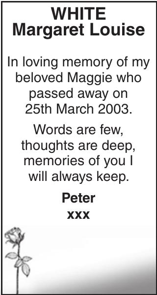 Memorial notice for WHITE Margaret