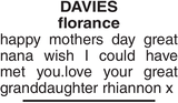 Mother's Day Memorial notice for DAVIES florance