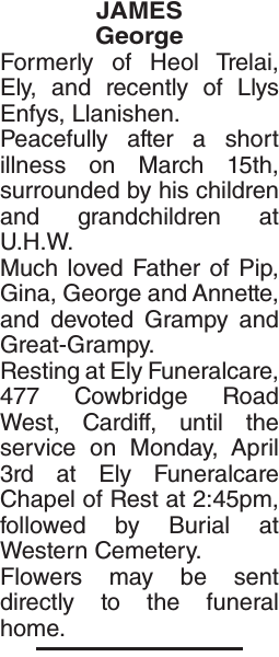 Obituary notice for JAMES George