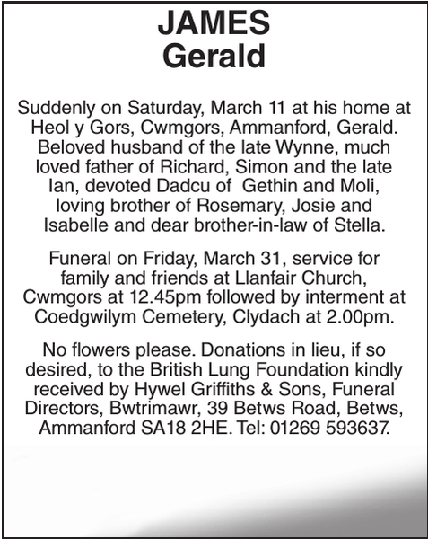 Obituary notice for JAMES Gerald