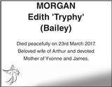 Obituary notice for MORGAN Edith