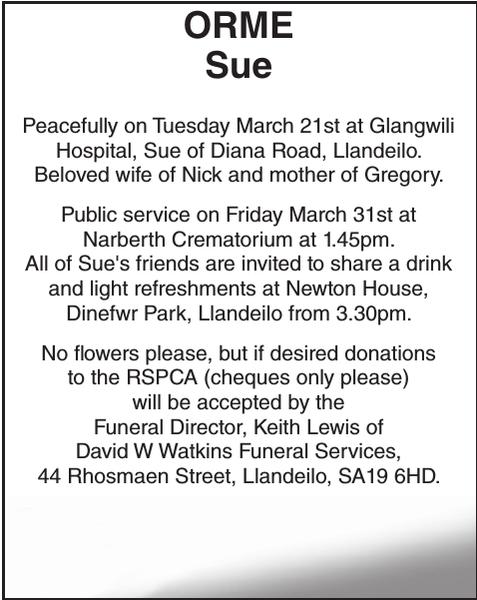 Obituary notice for ORME Sue