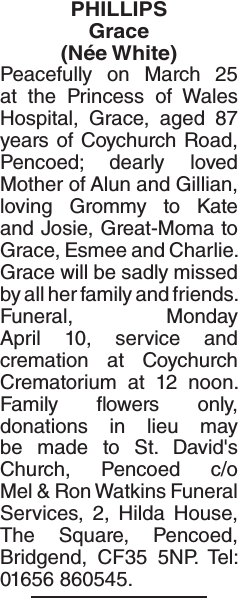 Obituary notice for PHILLIPS Grace
