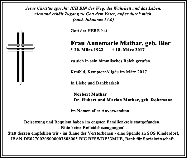Frau Annemarie Mathar geb. Bier