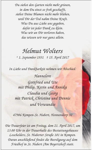 Helmut Wolters : Traueranzeige