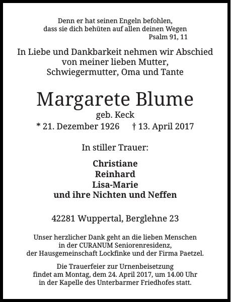 Margarete Blume : Traueranzeige