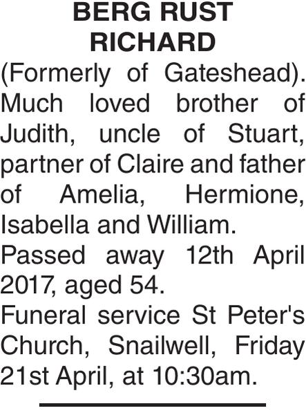 BERG RUST : Obituary