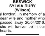 BESWICK SYLVIA : Memorial