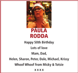 Birthday notice for PAULA RODDA