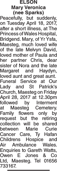 Obituary notice for ELSON Mary