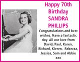 Birthday notice for SANDRA PHILLIPS