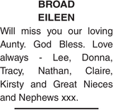 Obituary notice for BROAD EILEEN