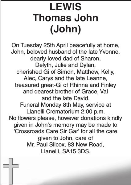 Obituary notice for LEWIS Thomas